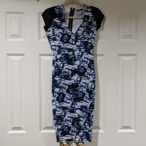 Zara Blue Scuba Midi Dress